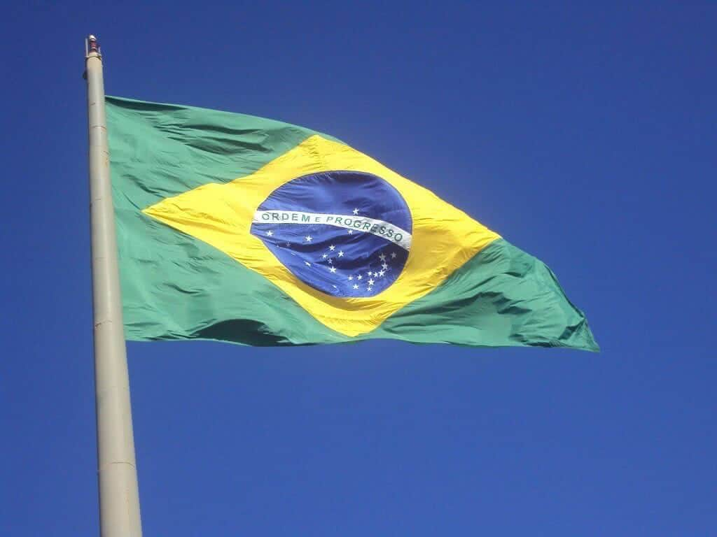 brazilian flag on a flagpole