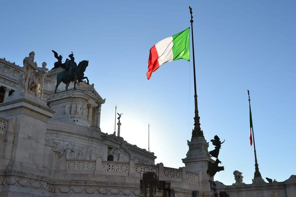 Italian flag on a flagpole