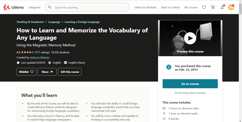 how to learn and memorize the vocabulary of any language course screenshot